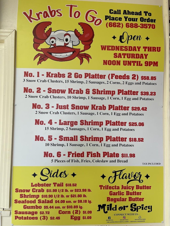 Krabs To Go | restaurant | 1300 Jasper Neely Jr Dr Suite I, Grenada, MS 38901, USA | 6626883570 OR +1 662-688-3570