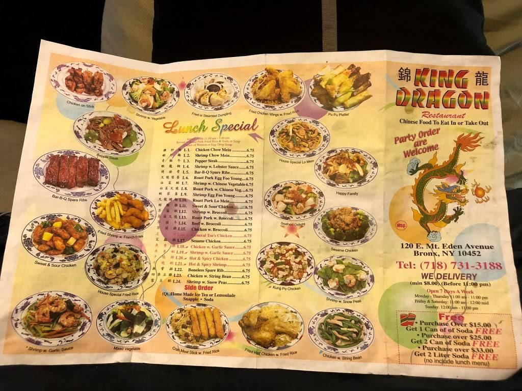 King Dragon | restaurant | 120 E Mt Eden Ave, Bronx, NY 10452, USA | 7187313188 OR +1 718-731-3188