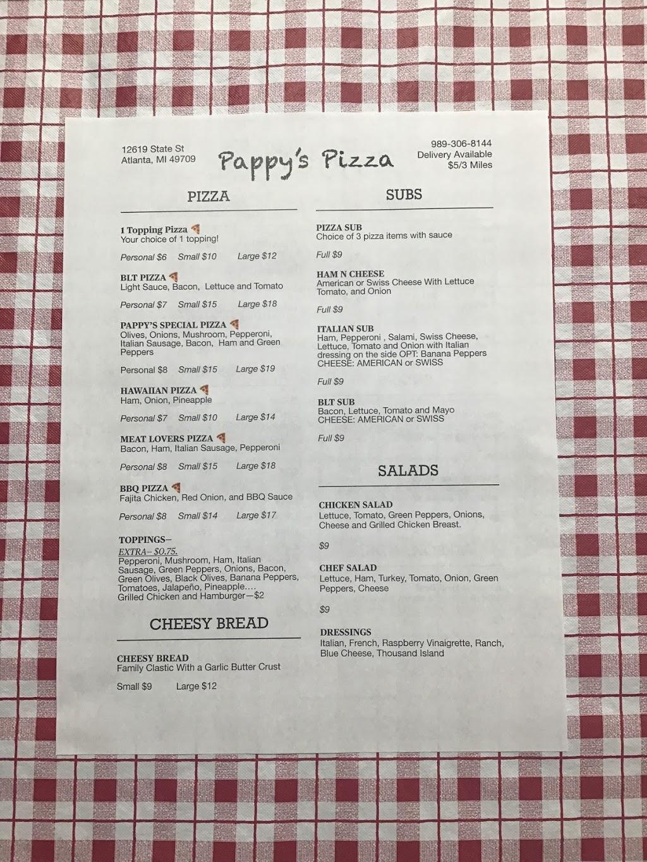 Pappys Pizza | restaurant | 12619 State St, Atlanta, MI 49709, USA | 9893068144 OR +1 989-306-8144
