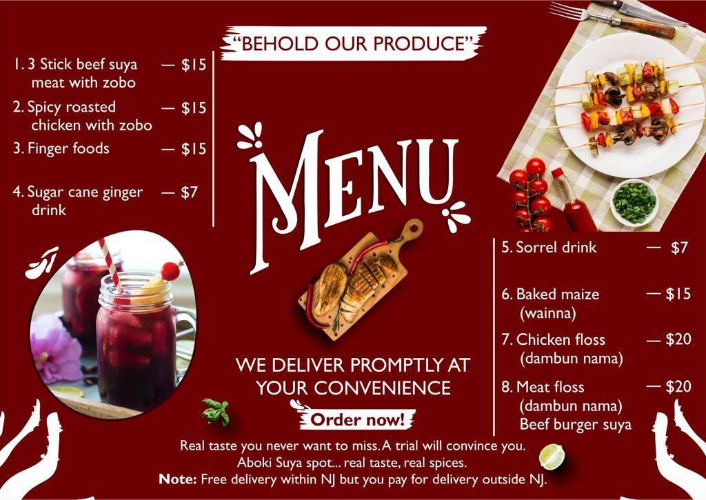 ABOKI SUYA SPOT LLC   restaurant   271 Seymour Ave, Newark, NJ 07112, USA   9733923955 OR +1 973-392-3955