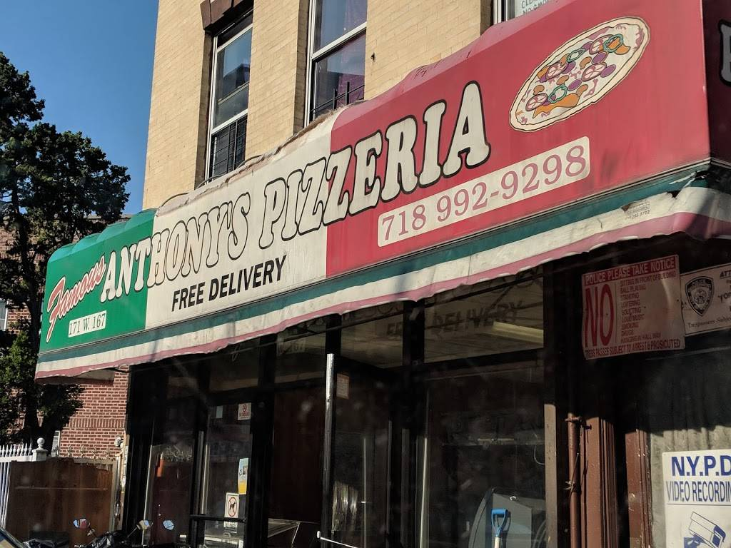 Famous Anthonys Pizzeria | restaurant | 171 W 167th St, Bronx, NY 10452, USA | 7189929298 OR +1 718-992-9298