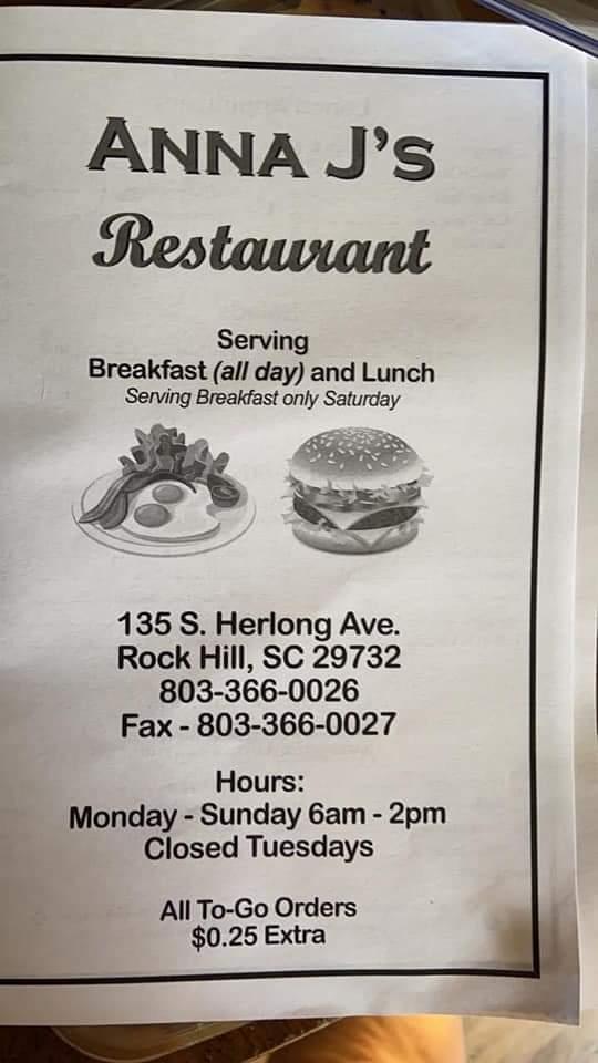 Anna Js   restaurant   135 S Herlong Ave, Rock Hill, SC 29732, USA   8033660026 OR +1 803-366-0026