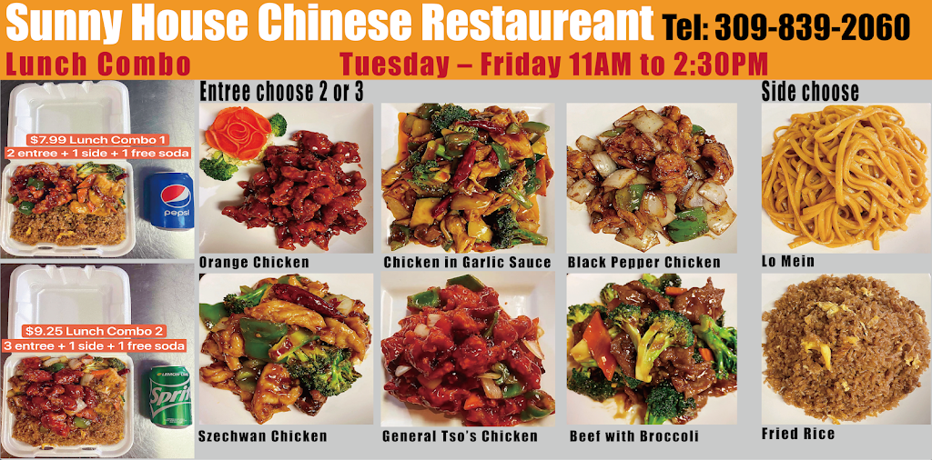 Sunny House Chinese Restaurant | meal takeaway | 1219 W Main St, Peoria, IL 61606, USA | 3098392060 OR +1 309-839-2060