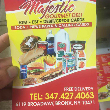 Majestic gourmet deli | restaurant | 6119 Broadway, Bronx, NY 10471, USA | 3474274063 OR +1 347-427-4063