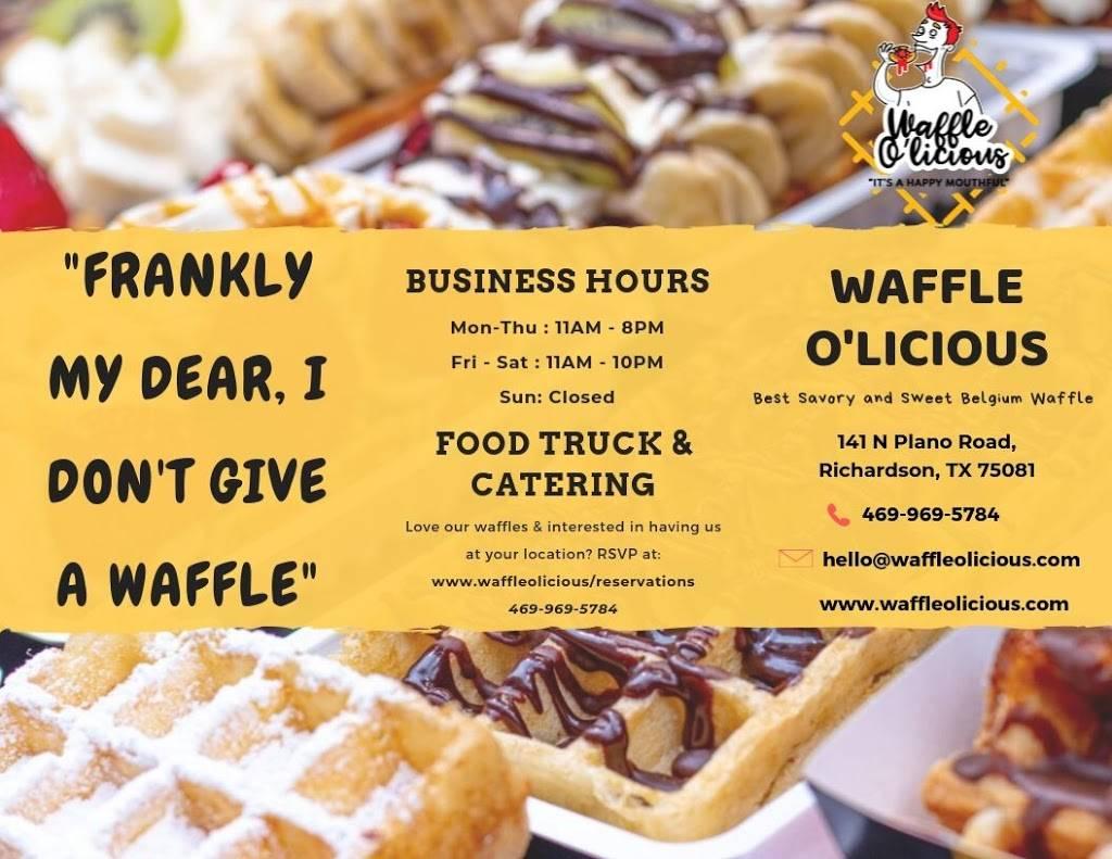 Waffle Olicious Restaurant | restaurant | 141 N Plano Rd, Richardson, TX 75081, USA | 4699695784 OR +1 469-969-5784