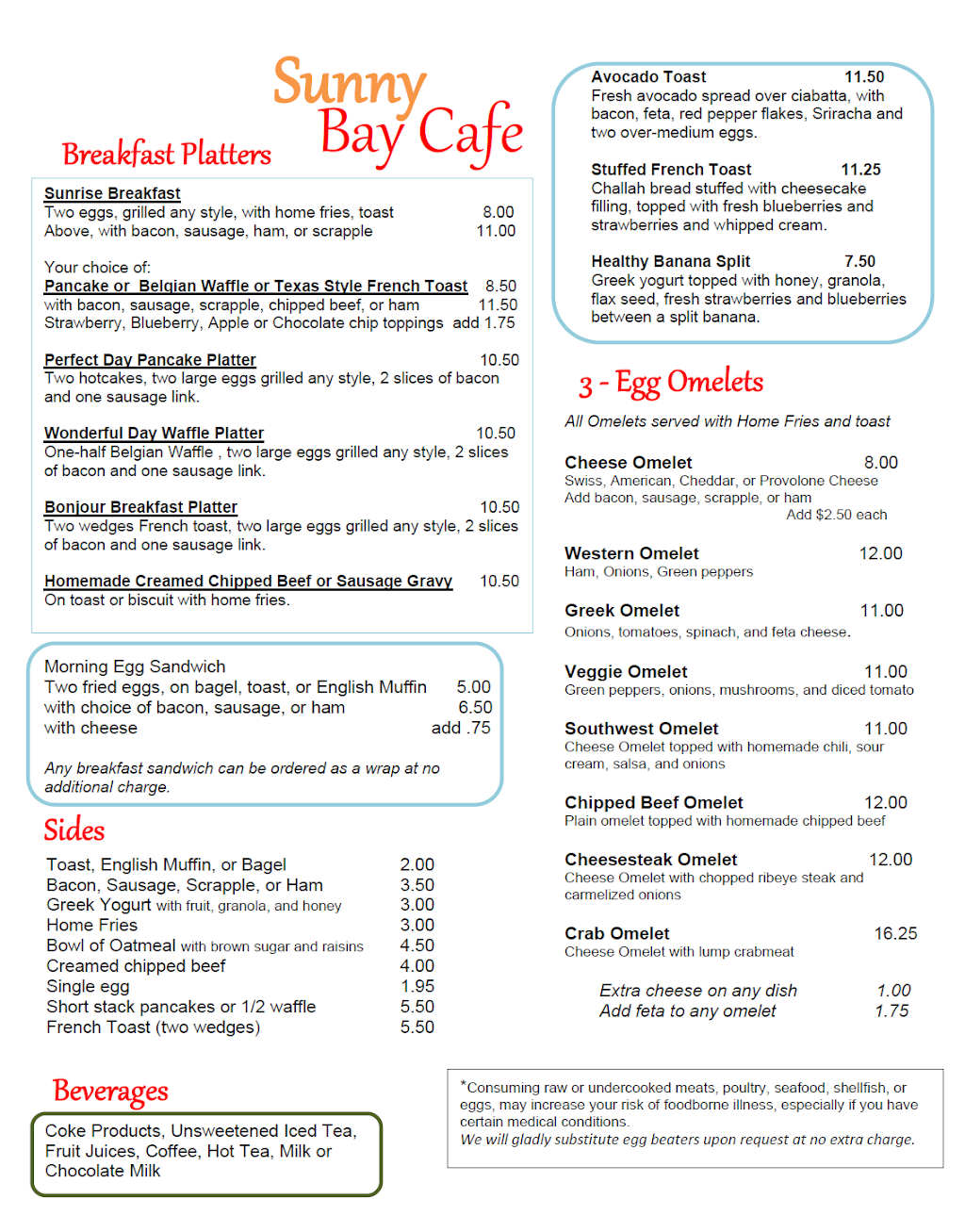 Sunny Bay Cafe   restaurant   236 Rehoboth Ave, Rehoboth Beach, DE 19971, USA   3025672344 OR +1 302-567-2344