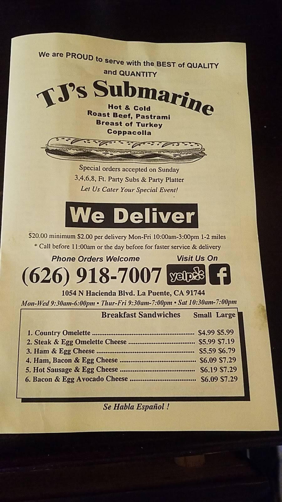 T Js Submarines   meal takeaway   1054 N Hacienda Blvd, La Puente, CA 91744, USA   6269187007 OR +1 626-918-7007
