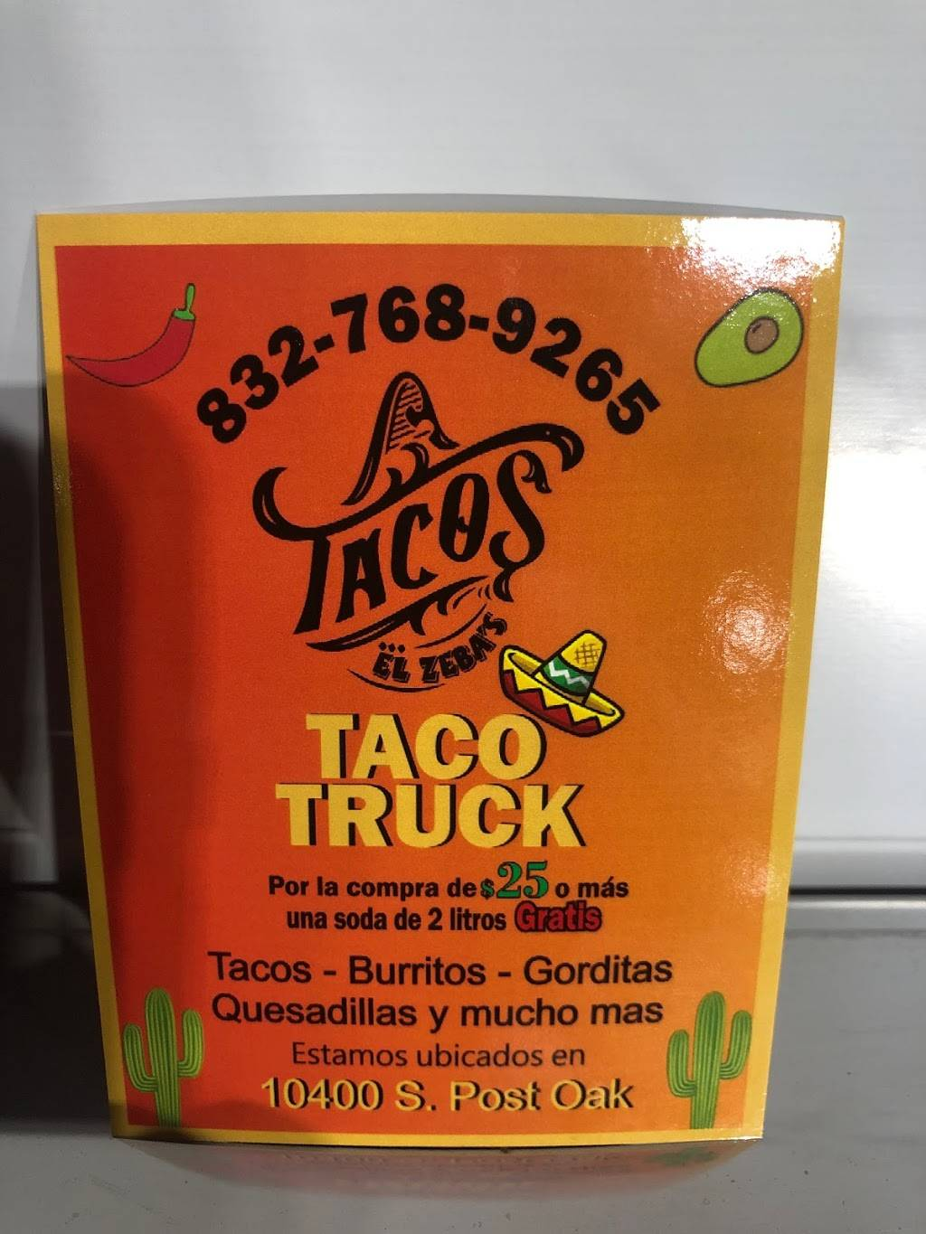 Tacos El Zebas | restaurant | 10350 S Post Oak Rd, Houston, TX 77035, USA | 8327689265 OR +1 832-768-9265