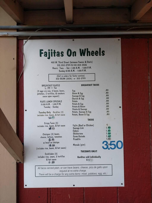 Fajitas On Wheels   restaurant   401 W 3rd St, Taylor, TX 76574, USA   5123522326 OR +1 512-352-2326