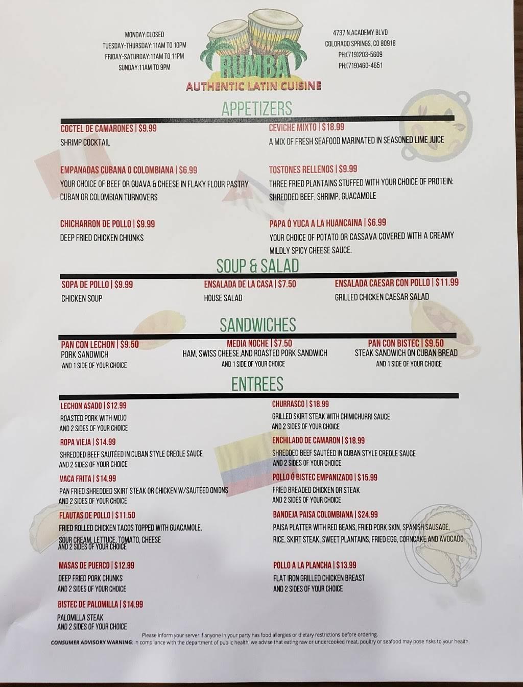 Rumba- Latin Cuisine   restaurant   4737 N Academy Blvd, Colorado Springs, CO 80918, USA   7192035609 OR +1 719-203-5609