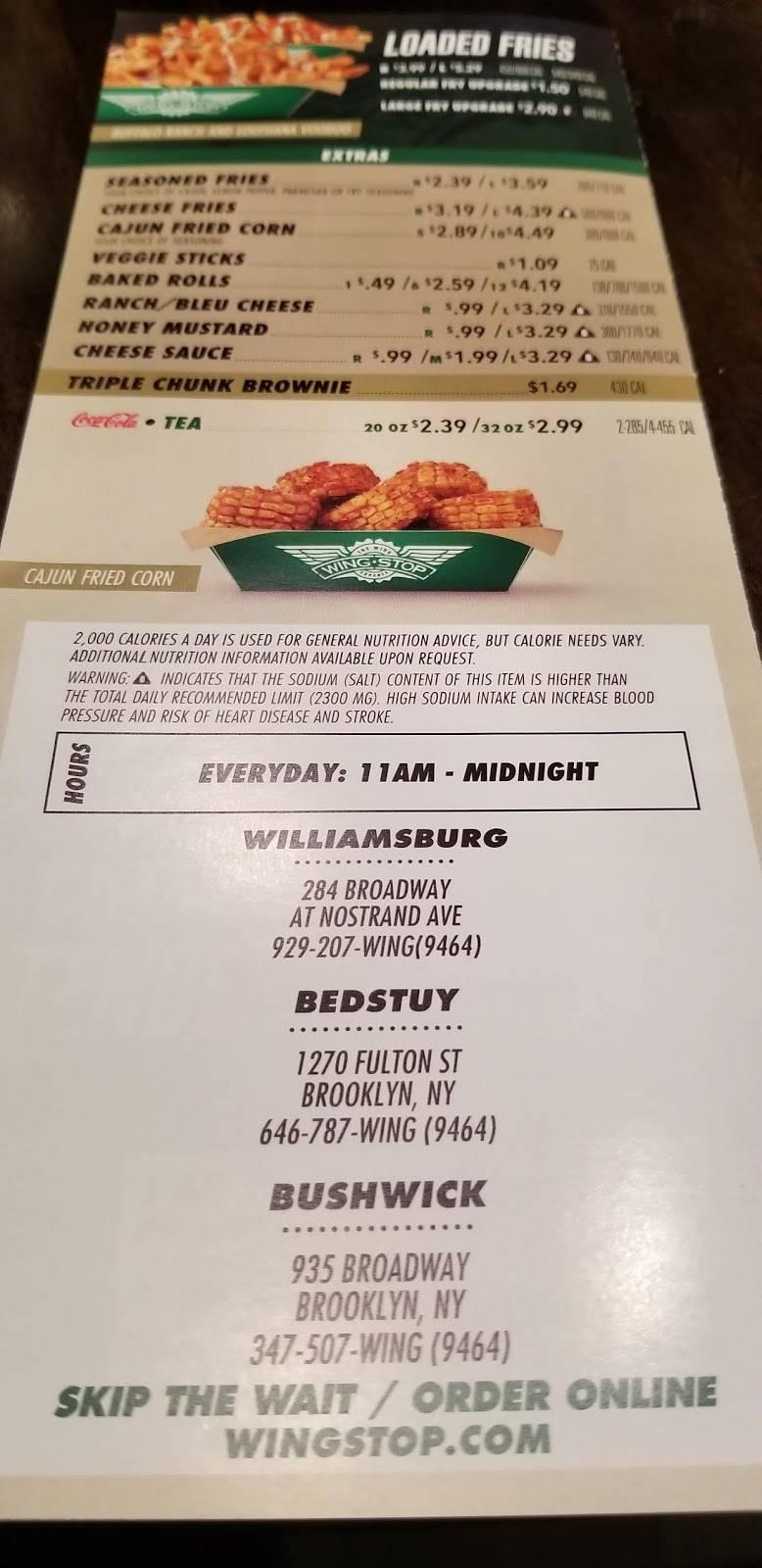 Wingstop | restaurant | 284 Broadway, Williamsburg, NY 11211, USA | 9292079464 OR +1 929-207-9464