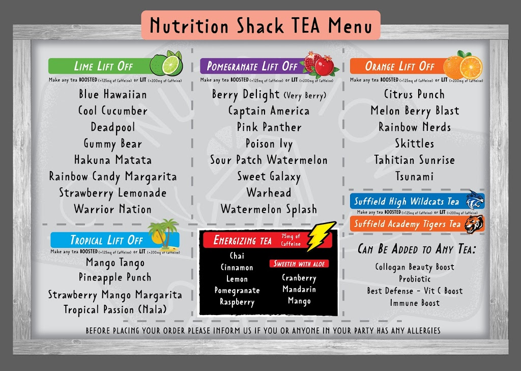 Nutrition shack of Suffield | restaurant | 5 U Car St, Suffield, CT 06078, USA | 8606231240 OR +1 860-623-1240
