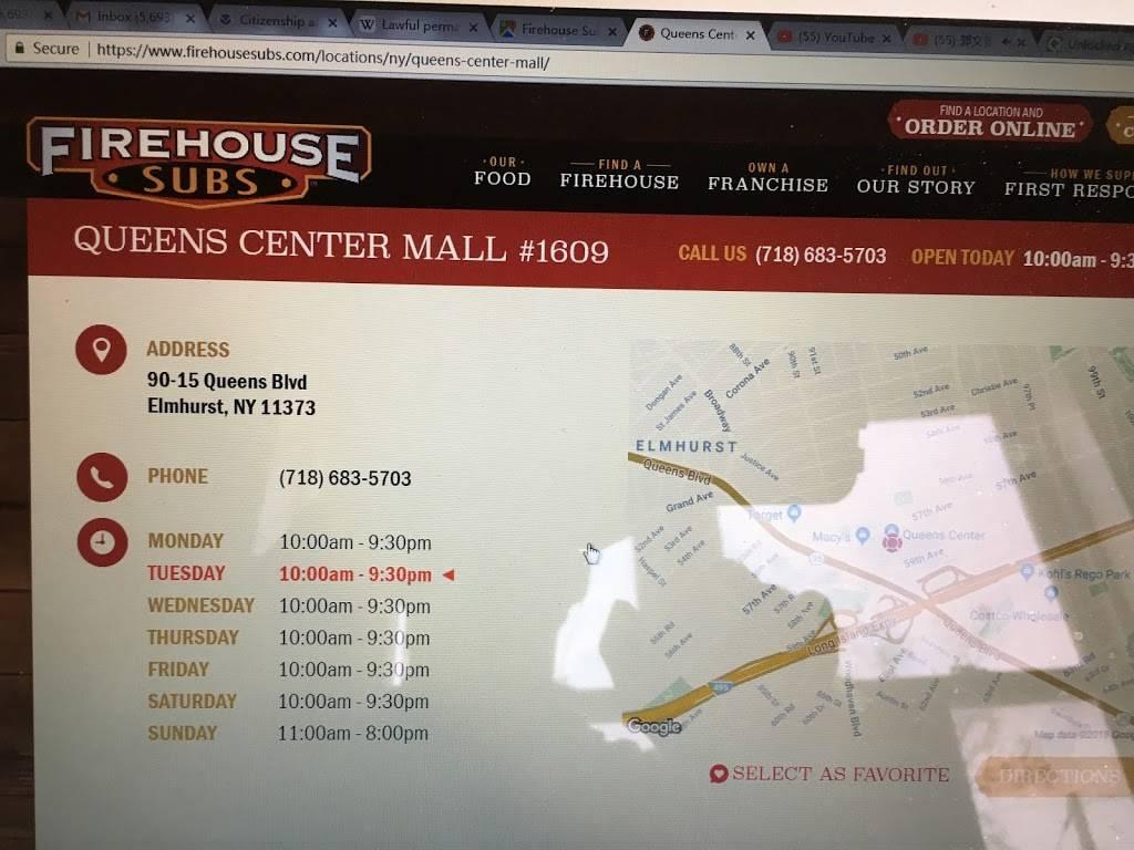 Firehouse Subs Queens Center Mall | restaurant | 90-15 Queens Blvd, Elmhurst, NY 11373, USA | 7186835703 OR +1 718-683-5703