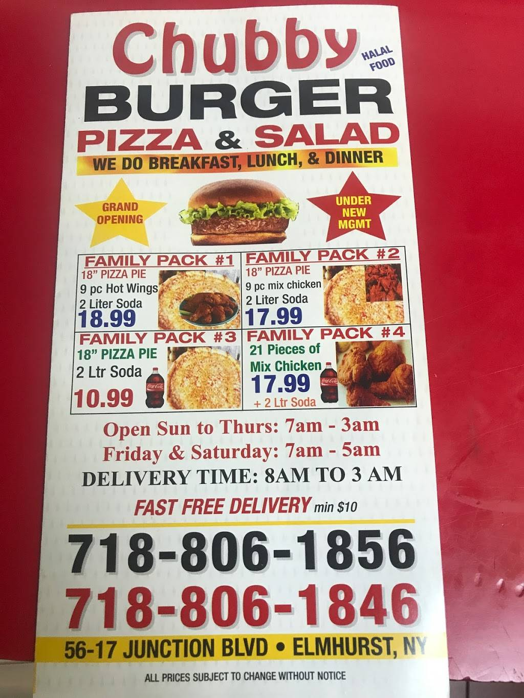 Chubby burgers,pizza&salad   meal takeaway   5617 Junction Blvd, Elmhurst, NY 11373, USA   7188061856 OR +1 718-806-1856