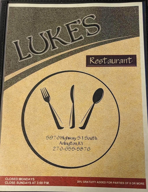 Lukes Restaurant   restaurant   5970 US-51, Arlington, KY 42021, USA   2706555876 OR +1 270-655-5876