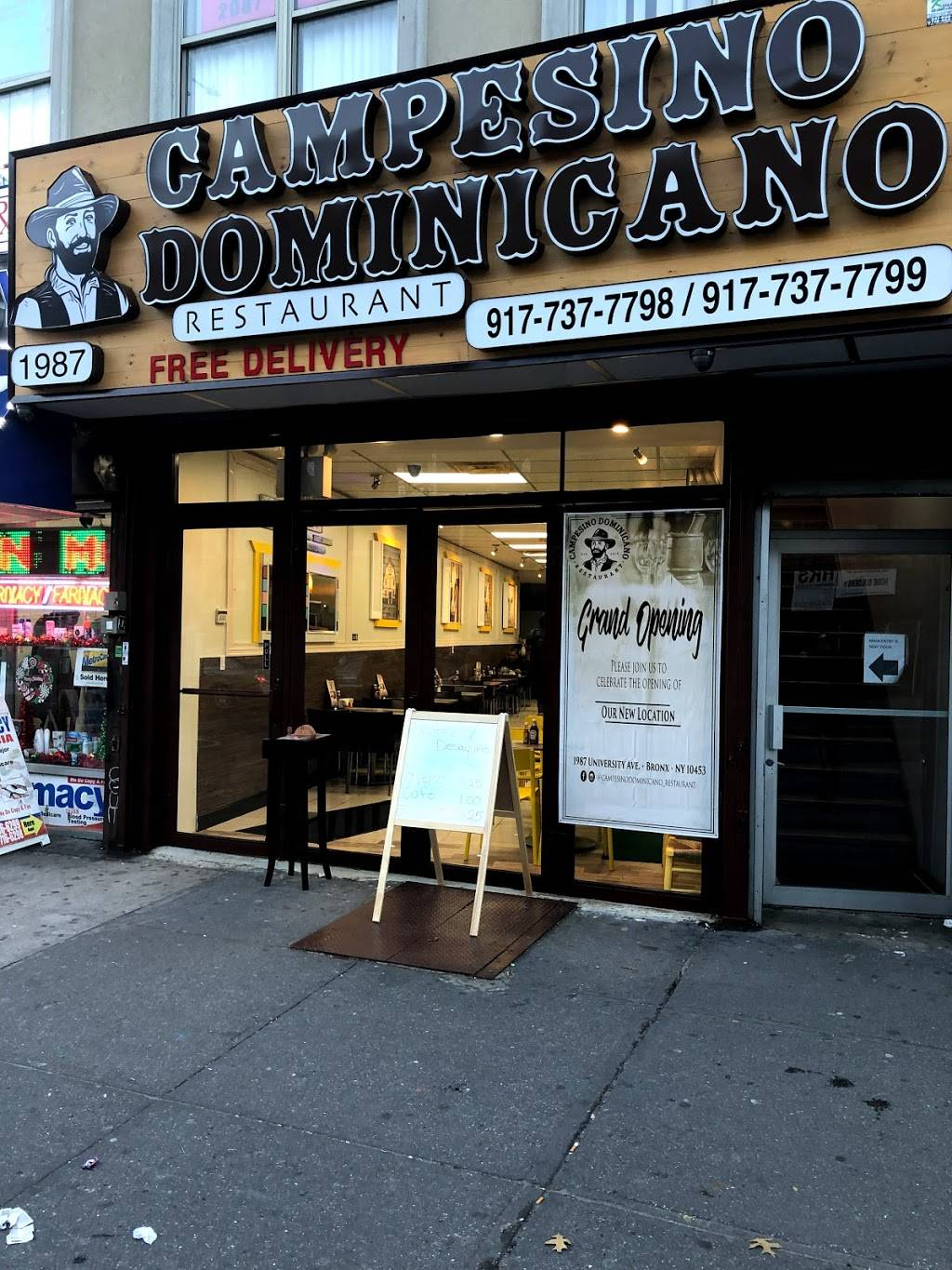 Campesino Dominicano Restaurant | restaurant | 1987 University Ave, Bronx, NY 10453, USA | 9177377798 OR +1 917-737-7798