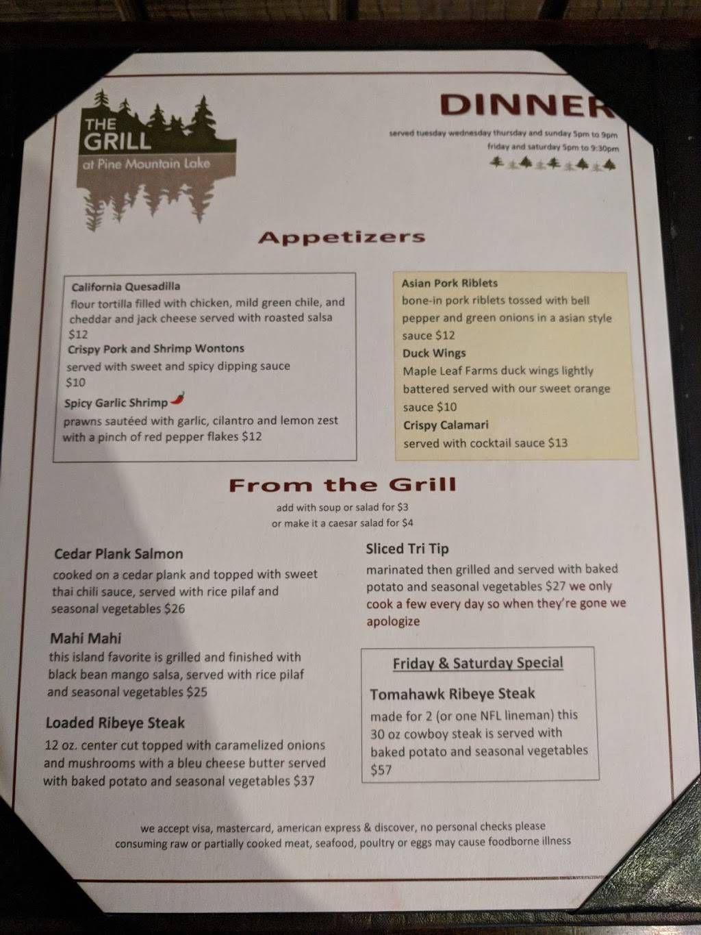 The Grill | restaurant | 12765 Mueller Dr, Groveland, CA 95321, USA