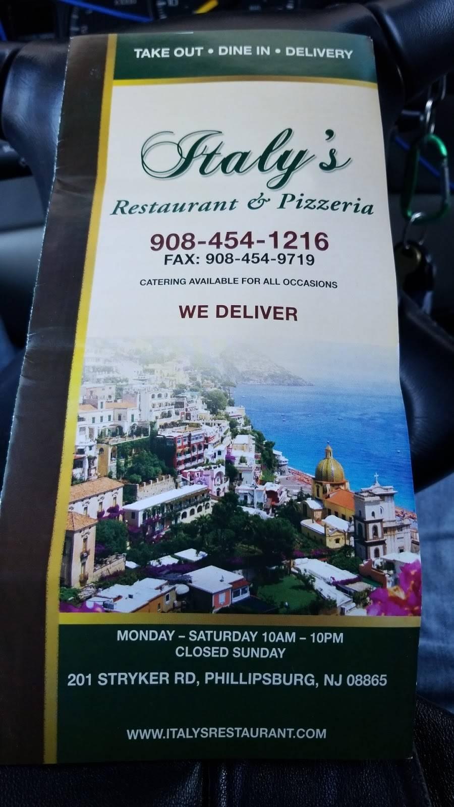 Italys Restaurant & Pizzeria | restaurant | 201 Strykers Rd Ste 18, Phillipsburg, NJ 08865, USA | 9084541216 OR +1 908-454-1216