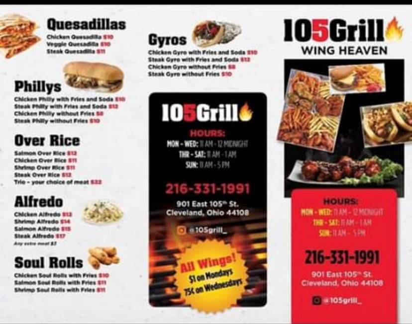 105 GRILL | restaurant | 901 E 105th St, Cleveland, OH 44108, USA | 2163311991 OR +1 216-331-1991