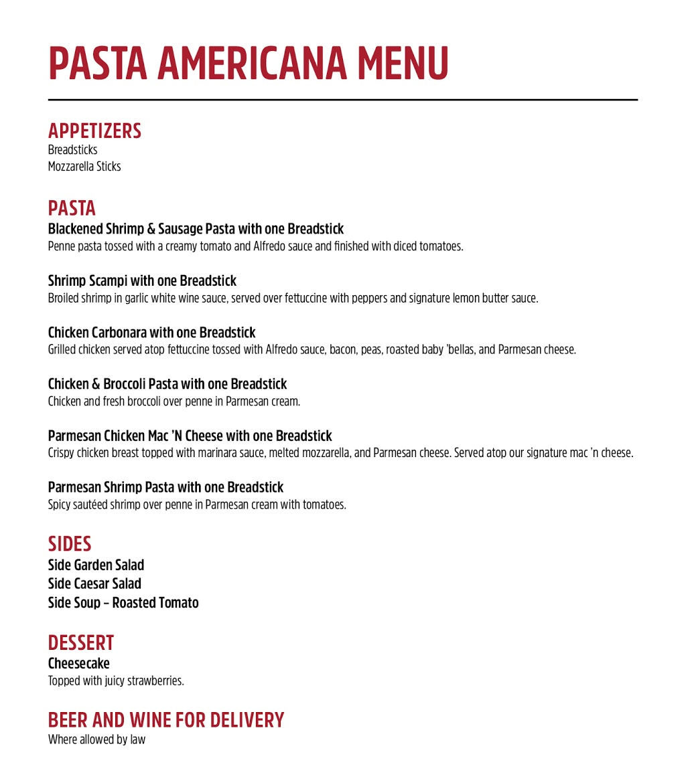 Pasta Americana | restaurant | 7425 Bell Creek Rd Suite B, Mechanicsville, VA 23111, USA | 8045593050 OR +1 804-559-3050