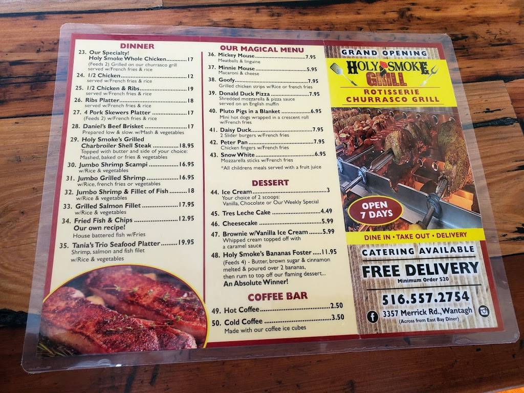 Holy Smoke Grill | restaurant | 3357 Merrick Rd, Wantagh, NY 11793, USA | 5165572754 OR +1 516-557-2754