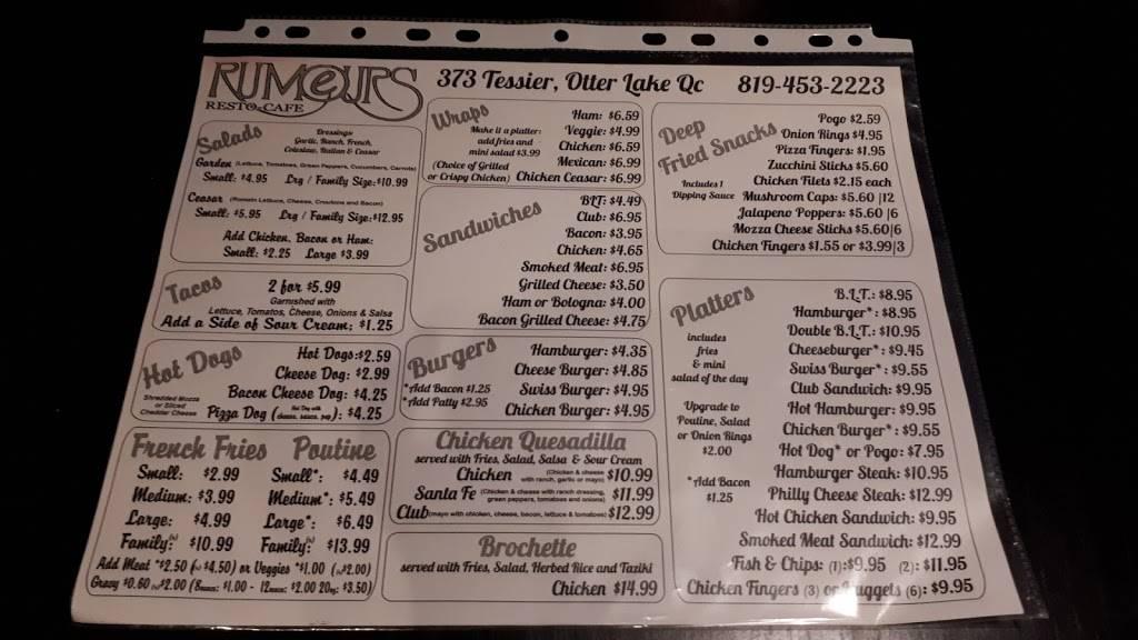 Rumours | restaurant | 354 Avenue Martineau, Otter Lake, QC J0X 2P0, Canada | 8194532223 OR +1 819-453-2223