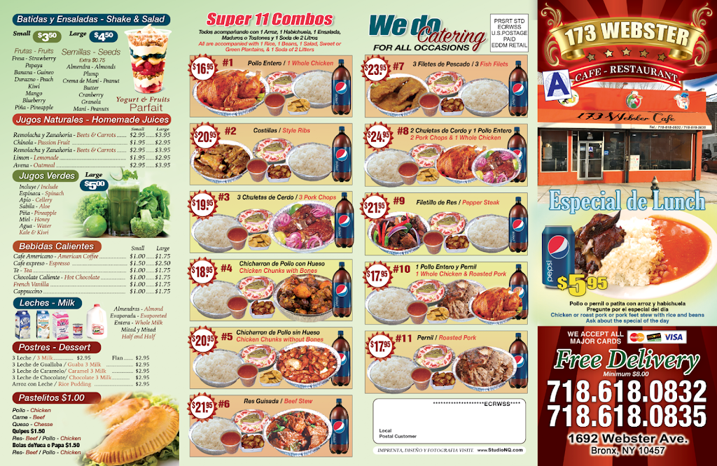 173 Webster Cafe | restaurant | 1692 Webster Ave, Bronx, NY 10457, USA | 7186180832 OR +1 718-618-0832