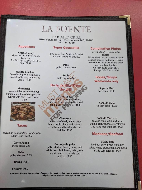 La Fuente | restaurant | 5701 Columbia Park Rd, Landover, MD 20785, USA | 2408253191 OR +1 240-825-3191