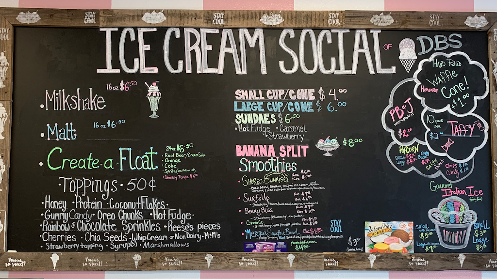 Ice Cream Social of DBS   meal takeaway   3174 S Atlantic Ave unit c, Daytona Beach Shores, FL 32118, USA   3863108040 OR +1 386-310-8040