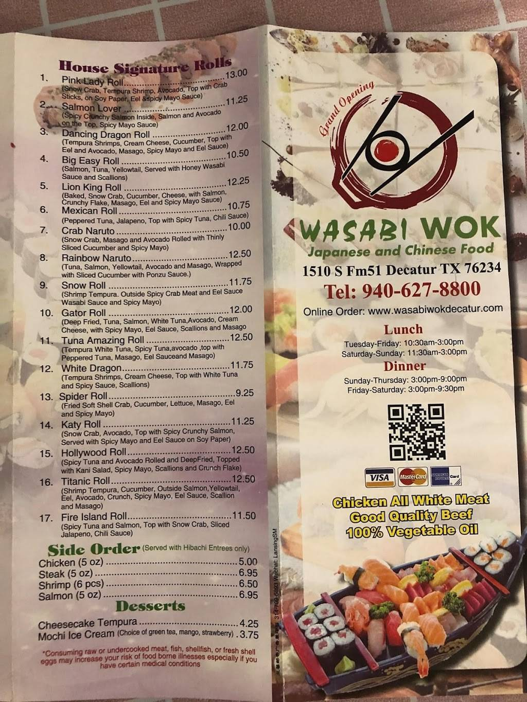Wasabi Wok Chinese and Japanese restaurant | restaurant | 1510 S, FM 51, Decatur, TX 76234, USA | 9406278800 OR +1 940-627-8800