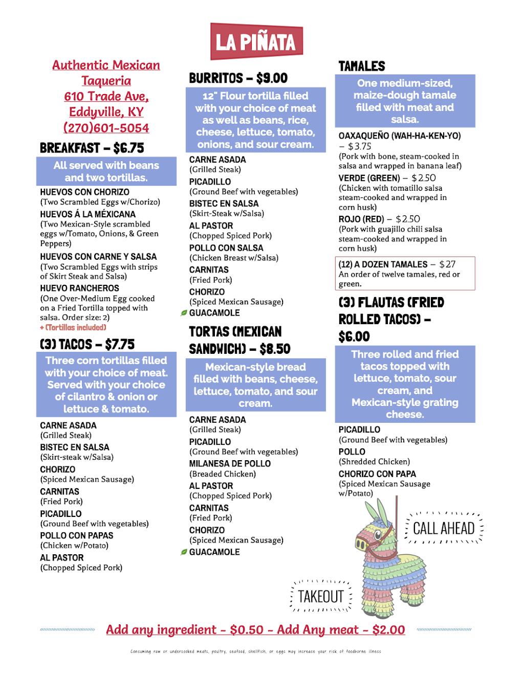 La Piñata | meal takeaway | 610 Trade Ave, Eddyville, KY 42038, USA | 2706015054 OR +1 270-601-5054
