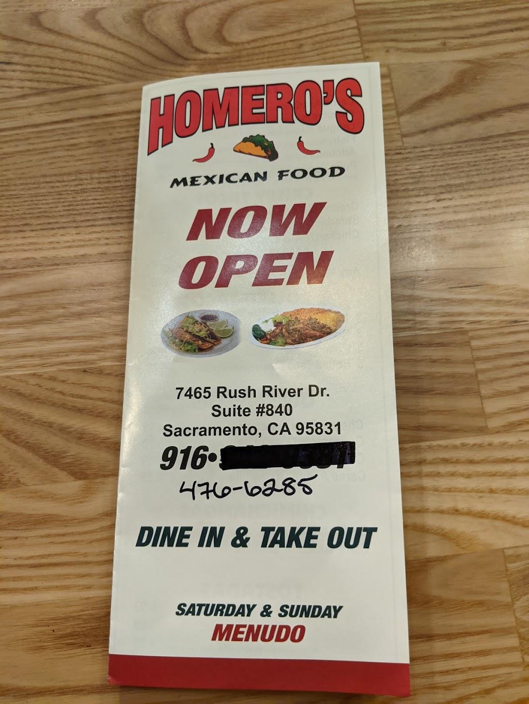 Homeros Mexican Food | restaurant | 7465 Rush River Dr Suite 840, Sacramento, CA 95831, USA | 9164766282 OR +1 916-476-6282
