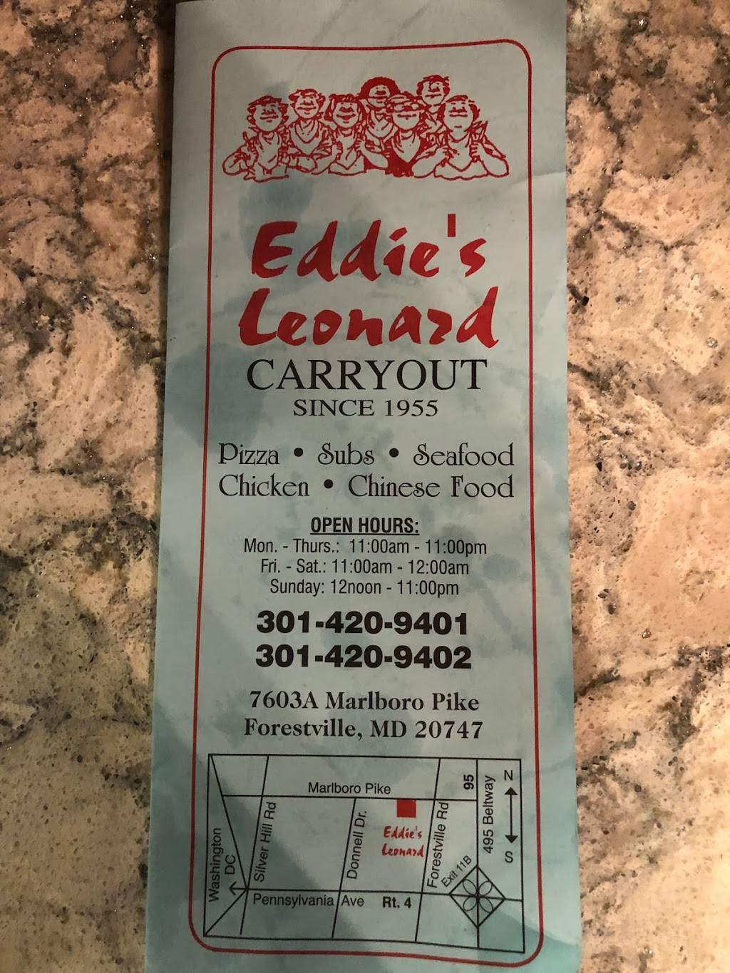 Eddie Leonards Carry-Out | meal takeaway | 7603 Marlboro Pike, District Heights, MD 20747, USA | 3014209401 OR +1 301-420-9401