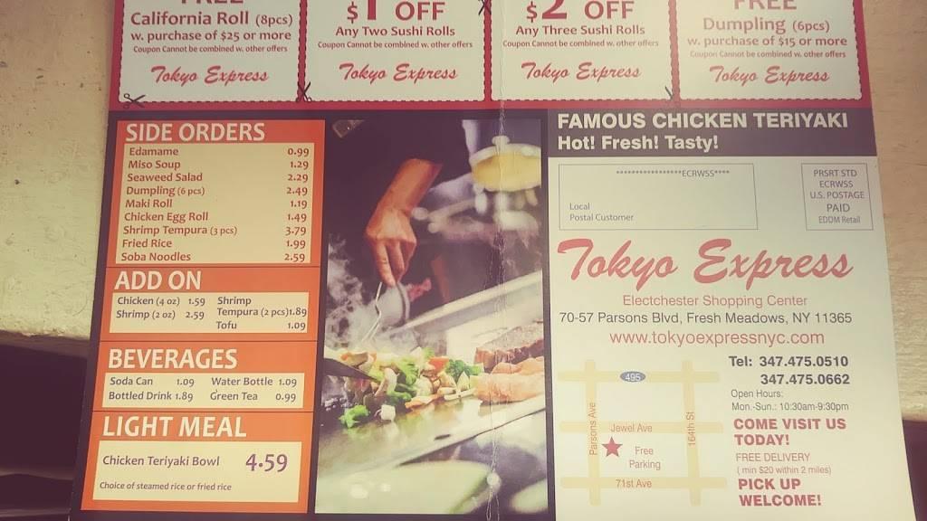 Tokyo Express | restaurant | 70-57 Parsons Blvd, Fresh Meadows, NY 11365, USA | 3474750510 OR +1 347-475-0510