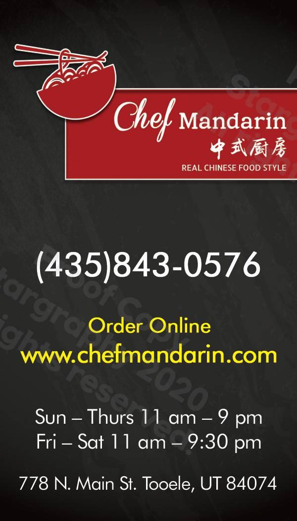 Chef Mandarin | restaurant | 778 N Main St, Tooele, UT 84074, USA | 4358430576 OR +1 435-843-0576
