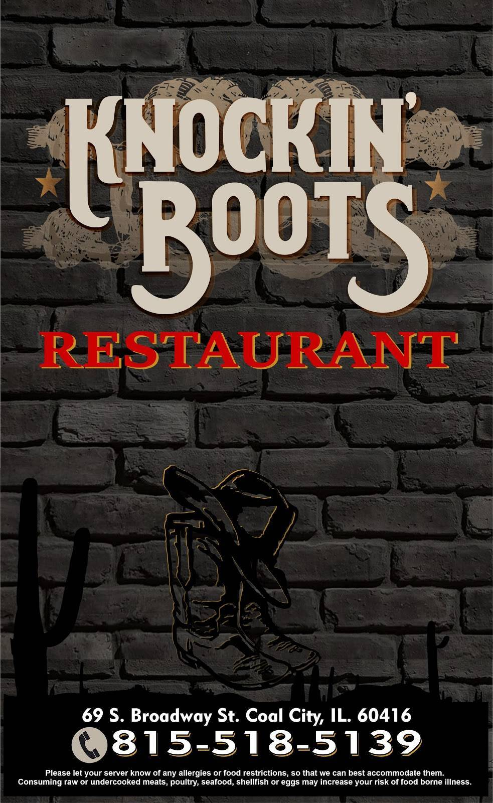 Knockin Boots Restaurant | restaurant | 69 S Broadway St, Coal City, IL 60416, USA | 8155185139 OR +1 815-518-5139