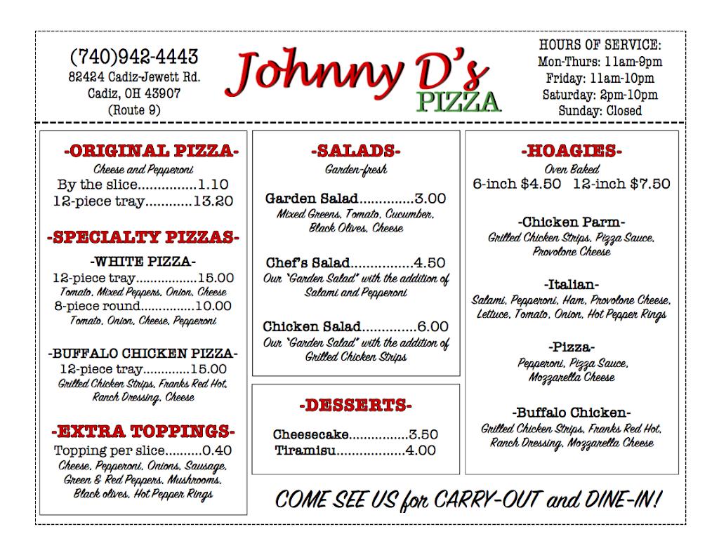 Johnny Ds Pizza | meal takeaway | 82424 Cadiz-Jewett Rd, Cadiz, OH 43907, USA | 7409424443 OR +1 740-942-4443