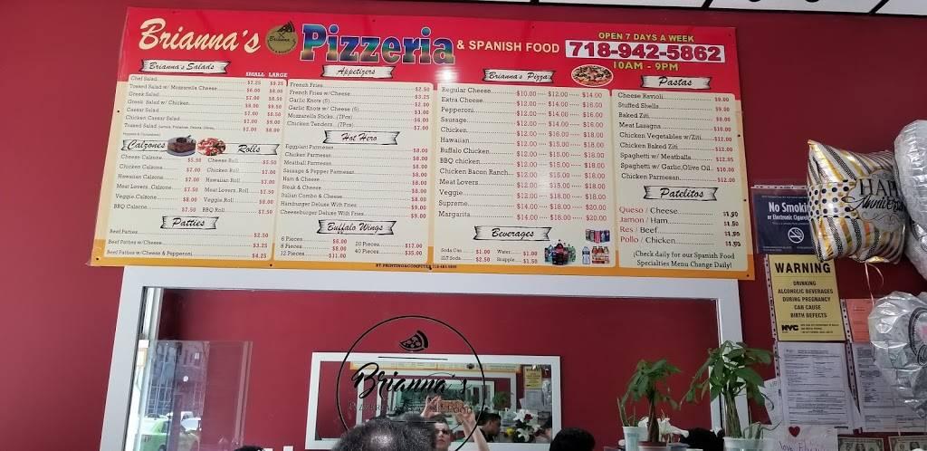 Briannas Pizzeria & Spanish Food | restaurant | 969 Prospect Ave, Bronx, NY 10459, USA | 7189425862 OR +1 718-942-5862