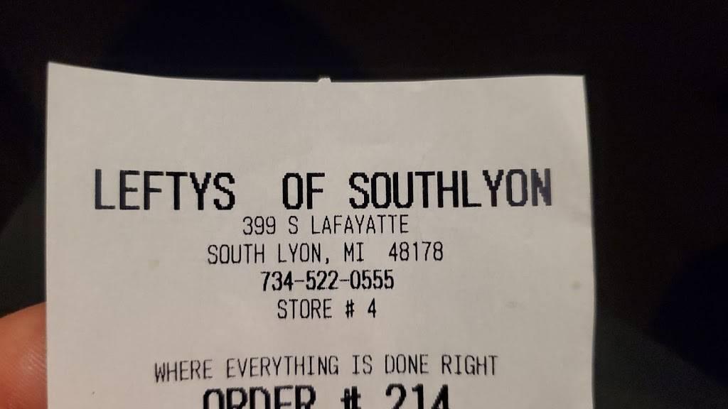 Leftys Cheesesteak South Lyon | restaurant | 399 S Lafayette St, South Lyon, MI 48178, USA | 2485737370 OR +1 248-573-7370