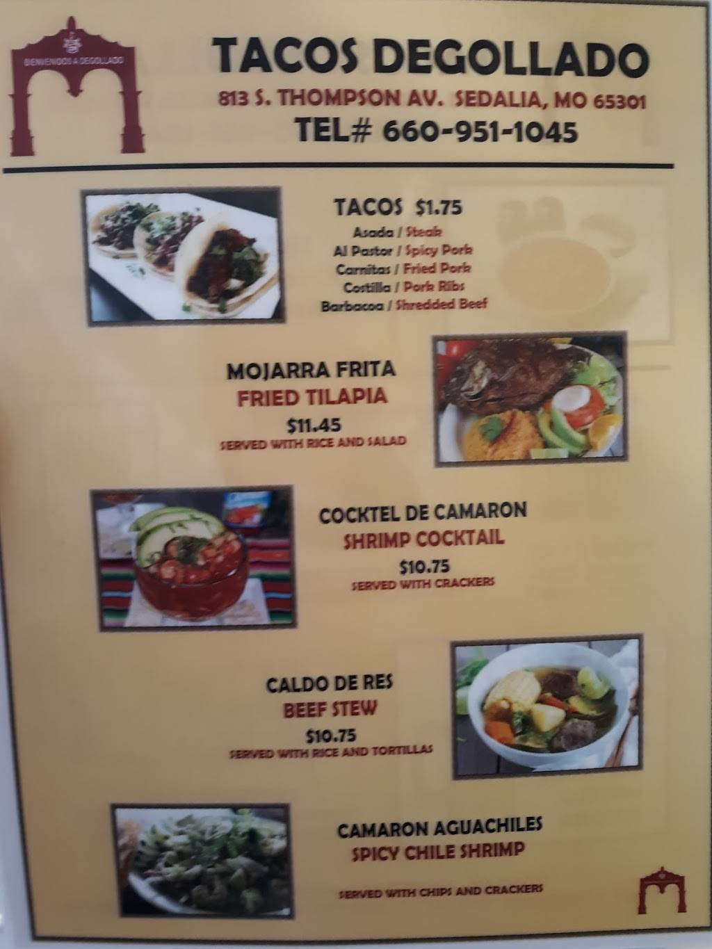 Tacos Degollado | restaurant | 813 Thompson Blvd, Sedalia, MO 65301, USA | 6609511045 OR +1 660-951-1045