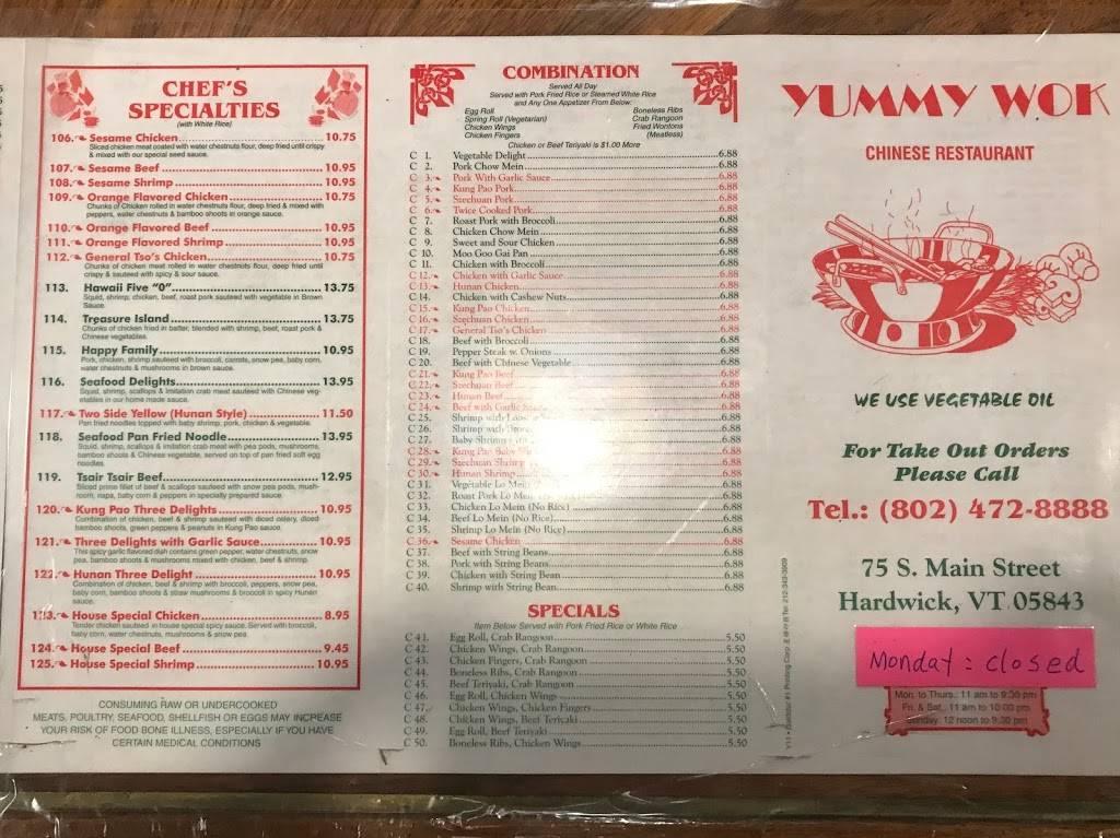 Yummy Wok   restaurant   75 S Main St, Hardwick, VT 05843, USA   8024728888 OR +1 802-472-8888