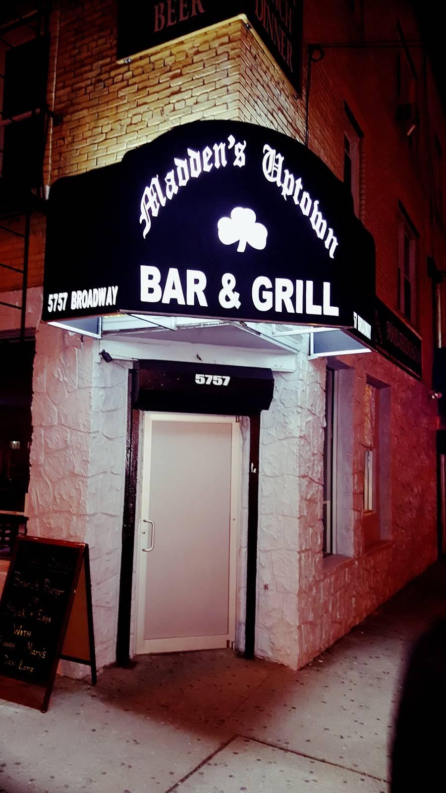Maddens Uptown Bar & Grill | restaurant | 5757 Broadway, Bronx, NY 10463, USA | 9292433480 OR +1 929-243-3480
