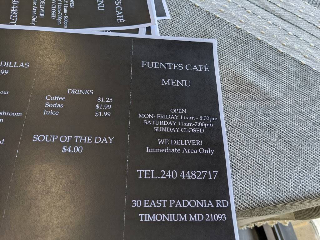 Fuentes Cafe | cafe | 30 E Padonia Rd, Lutherville-Timonium, MD 21093, USA | 2404482717 OR +1 240-448-2717