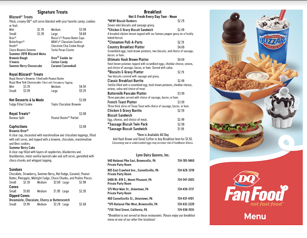 Dairy Queen Grill & Chill | restaurant | 250 3rd St, California, PA 15419, USA | 7249387655 OR +1 724-938-7655