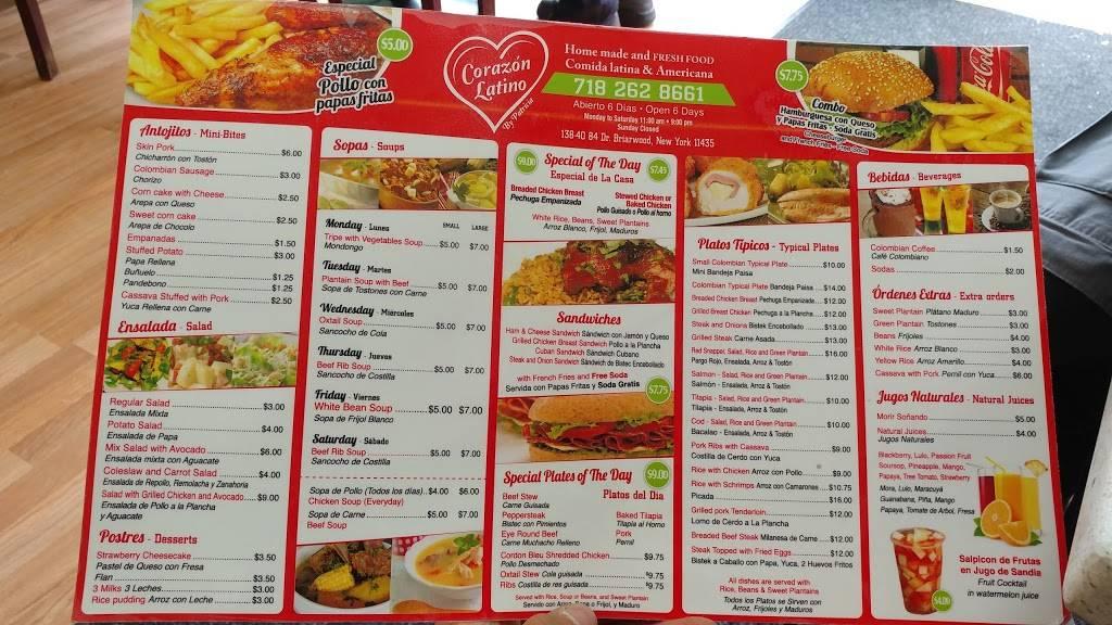 Corazon Latino | restaurant | 138-40 84th Dr, Briarwood, NY 11435, USA | 7182628661 OR +1 718-262-8661