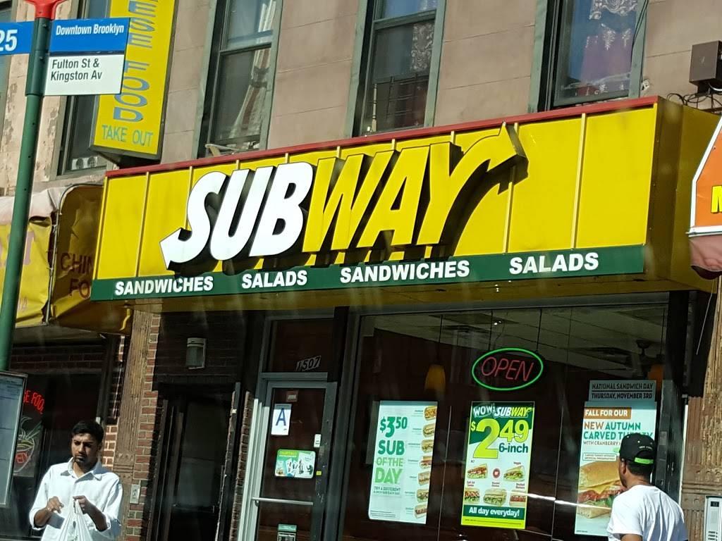 Subway Restaurants | restaurant | 1507 Fulton St, Brooklyn, NY 11216, USA | 3476632948 OR +1 347-663-2948