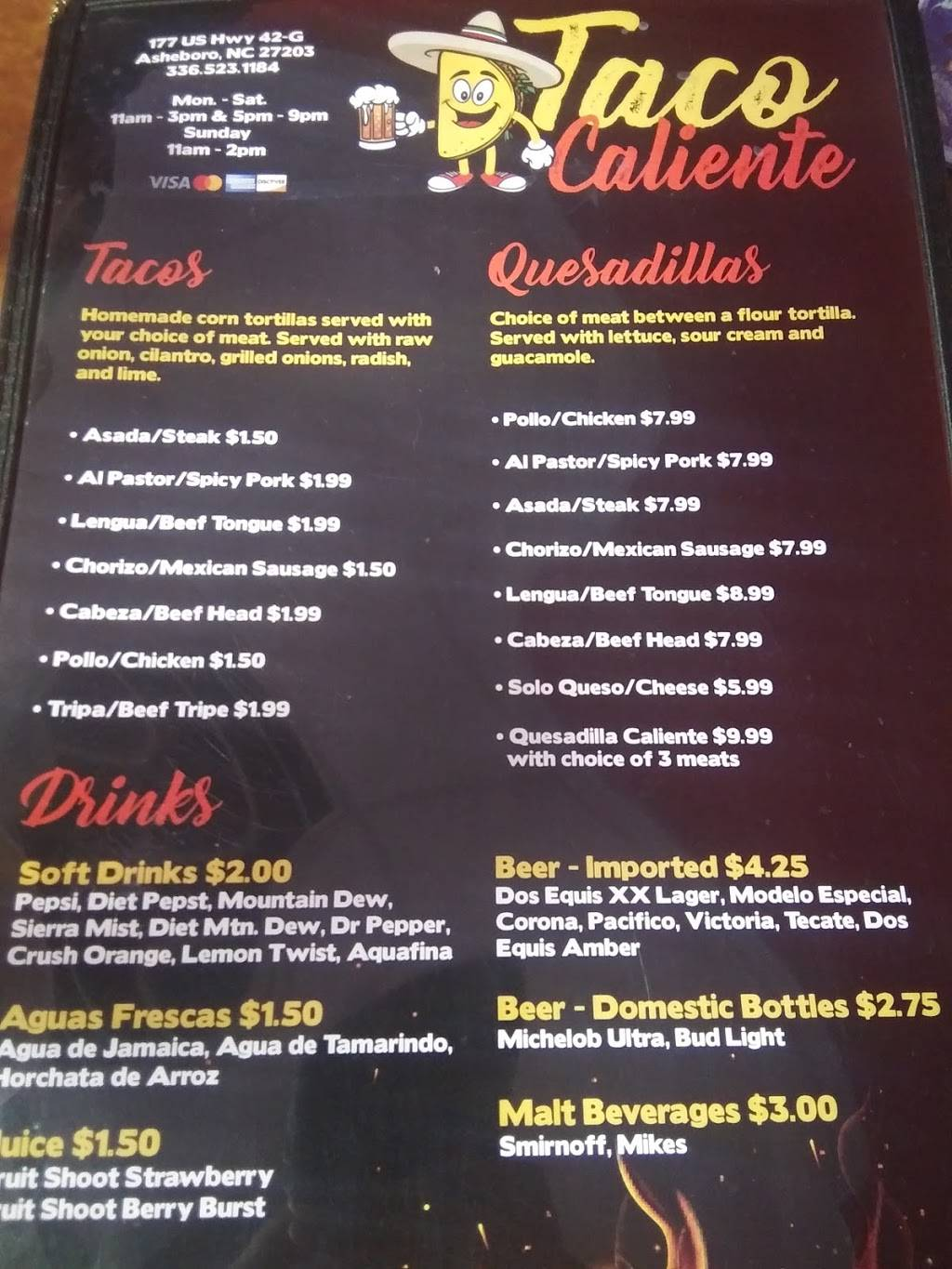 Taco caliente | restaurant | Asheboro, NC 27203, USA | 3365231184 OR +1 336-523-1184