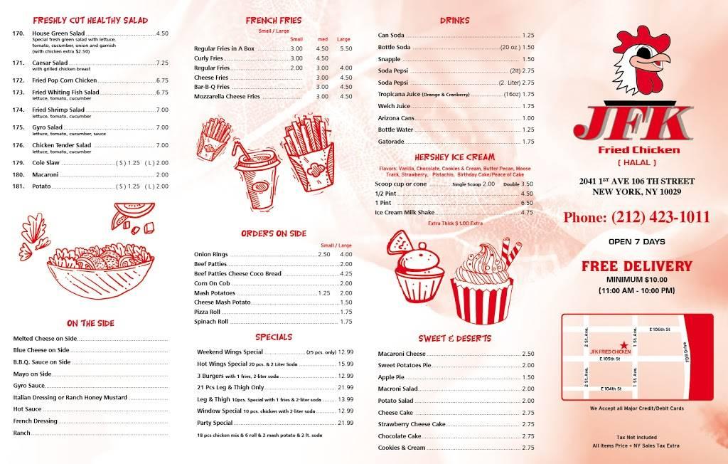 JFK Fried Chicken | restaurant | 2041 1st Avenue, New York, NY 10029, USA | 2124231011 OR +1 212-423-1011