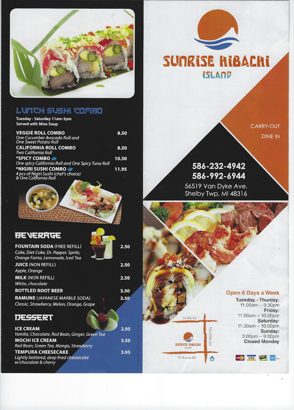 sunrise hibachi island | restaurant | 56519 Van Dyke Ave, Shelby Charter Twp, MI 48316, USA | 5862324942 OR +1 586-232-4942