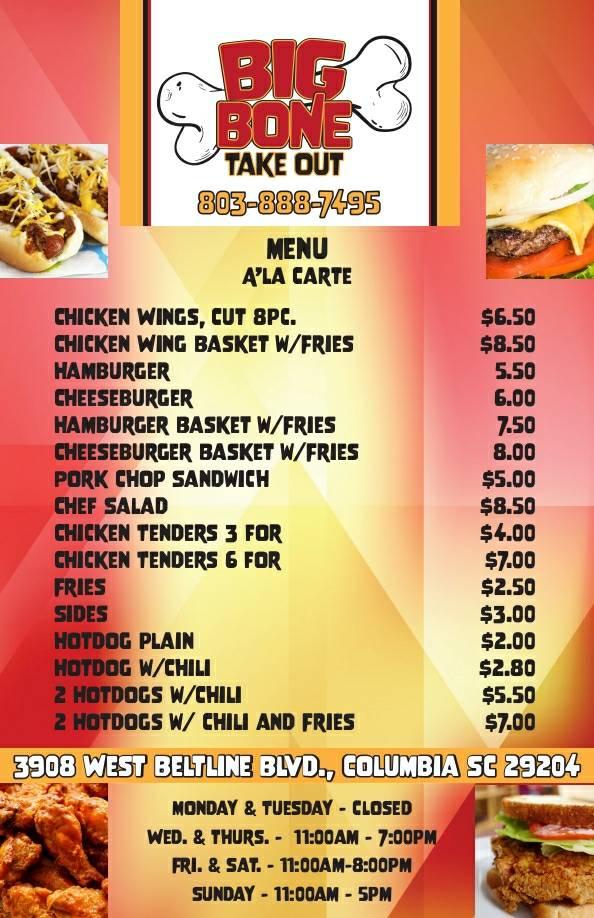 BIGBONE TAKE OUT | restaurant | 3908 W Beltline Blvd, Columbia, SC 29204, USA | 8038887495 OR +1 803-888-7495